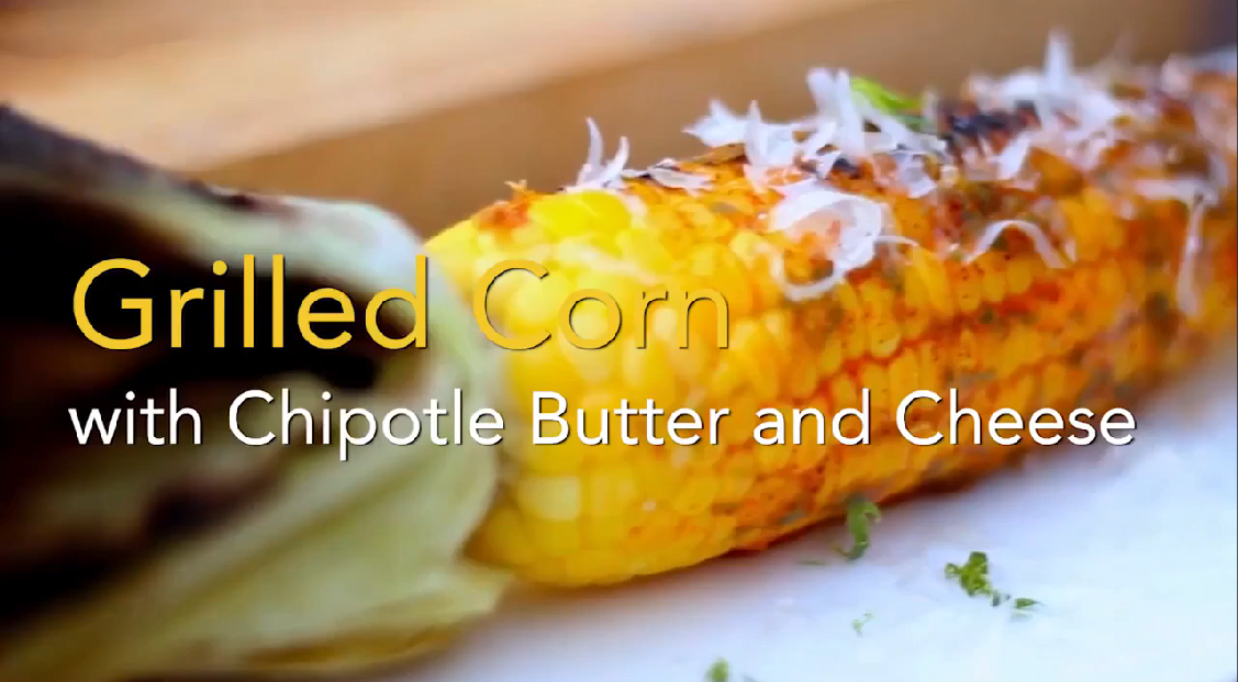 GRILLED CORN WITH CHIPOTLE BUTTER AND CHEESE