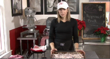Cutting and Presenting the Peppermint Bark